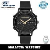 (OFFICIAL WARRANTY) Skechers SR5149 Men's Quartz Analog Digital Black Alloy Case Black Leather Strap Watch (2 Years Warranty)