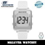 (OFFICIAL WARRANTY) Skechers SR6204 Naylor Quartz Digital Silver Alloy Case White Silicone Strap Watch (2 Years Warranty)
