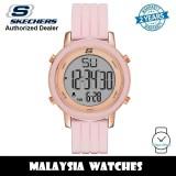 (OFFICIAL WARRANTY) Skechers SR6205 Women's Westport Quartz Digital Alloy Steel Case Pink Silicone Strap Watch (2 Years Warranty)