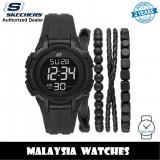 (OFFICIAL WARRANTY) Skechers SR9031 Men's Black Digital Dial Silicone Strap Watch + Bracelets Gift Set (2 Years Warranty)