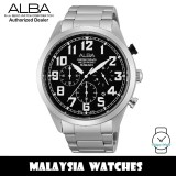 Alba AT3535X Quartz Analog Chronograph Black Dial Silver-Tone Stainless Steel Men's Watch AT3535 AT3535X1 (from SEIKO Watch Corporation)
