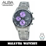 Alba AF8T75X Quartz Chronograph Black / Purple Dial Stainless Steel Women's Watch AF8T75 AF8T75X1 (from SEIKO Watch Corporation)
