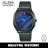Alba AG8L09X Tokyo Neon Quartz Blue Gradation Patterned Dial Black Stainless Steel Mesh Women's Watch AG8L09 AG8L09X1 (from SEIKO Watch Corporation)