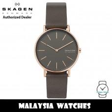 (100% Original) Skagen SKW2794 Signature Quartz Grey Dial Rose Gold-Tone Alloy Case Charcoal Leather Ladies Watch
