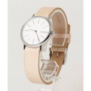 (100% Original) Skagen SKW2839 Signature White Dial Silver-Tone Stainless Steel Case Beige Leather Strap Ladies Watch