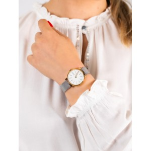 (100% Original) Skagen SKW2910 Signatur Quartz White Dial Gold-Tone Case Silver-Tone Stainless Steel Mesh Ladies Watch