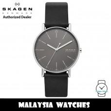 (100% Original) Skagen SKW6654 Signatur Quartz Grey Dial Silver-Tone Stainless Steel Case Black Leather Strap Men Watch