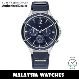 (100% Original) Tommy Hilfiger 1782281 Eve Blue Multifunction Dial Stainless Steel Case Blue Silicone Women's Watch (2 Years International Warranty)