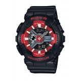 (OFFICIAL MALAYSIA WARRANTY) Casio Baby-G BA-110SN-1A Standard Analog & Digital Women's Resin Watch (Black & Red)