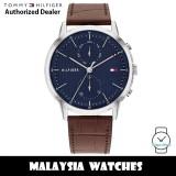(100% Original) Tommy Hilfiger 1710436 Easton Quartz Blue Dial Stainless Steel Case Brown Leather Strap Men's Watch (2 Years International Warranty)