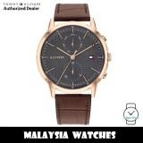 (100% Original) Tommy Hilfiger 1710435 Easton Quartz Grey Dial Rose Gold-Tone Stainless Steel Case Brown Leather Strap Men's Watch (2 Years International Warranty)