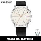 (100% Original) Tommy Hilfiger 1710434 Easton Quartz White Dial Silver-Tone Stainless Steel Case Black Leather Strap Men's Watch (2 Years International Warranty)