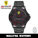 (100% Original) Scuderia Ferrari 0830815 Quartz Analog Black Dial Black-Tone Stainless Steel Men's Watch (2 Years Scuderia Ferrari Warranty)