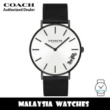 (100% ORIGINAL) Coach 14503655 Perry Quartz Chalk Dial Black-Tone Stainless Steel Case Black Leather Strap Women's Watch TWO (2) Years COACH Warranty