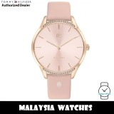 (100% Original) Tommy Hilfiger 1782215 Quartz Pink Sunray Dial Rose Gold-Tone Stainless Steel Case Pink Leather Strap Women's Watch (2 Years International Warranty)