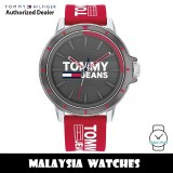 (100% Original) Tommy Hilfiger 1791826 Jeans Quartz Analog Grey Dial Red Silicone Strap Men's Watch (2 Years International Warranty)