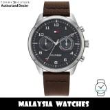 (100% Original) Tommy Hilfiger 1791785 Patrick Quartz Grey Dial Stainless Steel Case Brown Leather Strap Men's Watch (2 Years International Warranty)