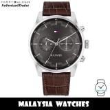 (100% Original) Tommy Hilfiger 1710422 Sawyer Quartz Grey Dial Stainless Steel Case Brown Leather Strap Men's Watch (2 Years International Warranty)