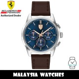(100% Original) Scuderia Ferrari 0830806 Grand Tour Quartz Blue Dial Stainless Steel Case Brown Leather Strap Men's Watch 830806 (2 Years Scuderia Ferrari Warranty)