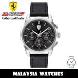 (100% Original) Scuderia Ferrari 0830805 Grand Tour Quartz Black Dial Stainless Steel Case Black Leather Strap Men's Watch 830805 (2 Years Scuderia Ferrari Warranty)