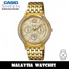 (OFFICIAL WARRANTY) Casio Sheen SHE-3030BGD-9A Multi-Hand Gold-Tone Dial Swarovski® Crystals Gold-Tone Stainless Steel Women's Watch SHE-3030BGD SHE-3030BGD-9AUDR