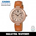 (OFFICIAL WARRANTY) Casio Sheen SHE-3051PGL-7A Rose Gold-Tone Dial Brown Leather Strap Women's Watch SHE-3051PGL SHE-3051PGL-7AUDR