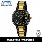 (OFFICIAL WARRANTY) Casio Sheen SHE-4805BSG-1A Black Dial Swarovski® Crystals Two-Tone Stainless Steel Women's Watch SHE-4805BSG SHE-4805BSG-1AUDR