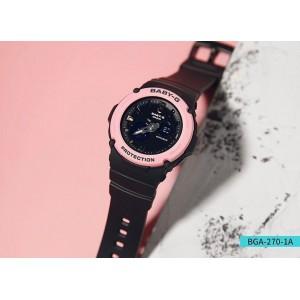 (OFFICIAL WARRANTY) Casio Baby-G BGA-270-1A Analog Digital Pink Bezel Black Resin Watch BGA270 BGA270-1A BGA-270-1ADR