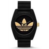 ADIDAS ADH2912 Santiago Black Dial Black Rubber Strap Unisex Quartz Watch (Black & Gold)