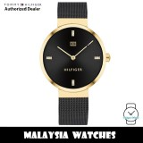 (100% Original) Tommy Hilfiger 1782216 Quartz Analog Gold-Tone Stainless Steel Case Black Mesh Bracelet Women's Watch (2 Years International Warranty)