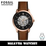 (OFFICIAL WARRANTY) Fossil Men's ME3195 Neutra Automatic Stainless Steel Case Brown Leather Strap Watch (2 Years Fossil Warranty)