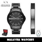 (100% Original) Armani Exchange AX7101 Hampton Bracelet Gift Set Black Dial Black Stainless Steel Men's Watch (2 Years AX Warranty)