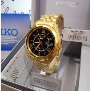 Seiko 5 SNKL40K1 Automatic Black-Tone Dial See-thru Back Gold-Tone Stainless Steel Watch SNKL40 SNKL40K