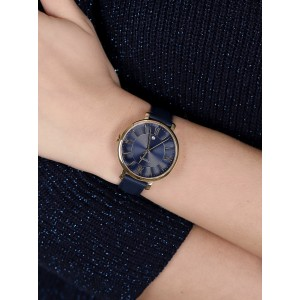 (OFFICIAL WARRANTY) Fossil ES5023 Jacqueline Three-Hand Gold-Tone Case Navy Leather Strap Women's Watch (2 Years Fossil Warranty)
