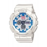 (OFFICIAL MALAYSIA WARRANTY) Casio Baby-G BA-120-7B Standard Analog & Digital Women's Resin Watch (White & Blue)