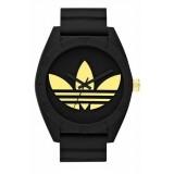 ADIDAS ADH2712 Santiago XL Black Dial Black Rubber Strap Unisex Quartz Watch (Black & Gold)