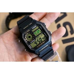 (100% Original) Casio AE-1200WH-1B Youth Digital 10 Years Battery Life Black Resin Men's Watch AE1200 AE1200WH AE1200WH-1B AE-1200WH-1BV AE-1200WH-1BVDF