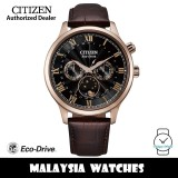 (100% Original) Citizen AP1059-19E Eco-Drive Moon Phase Made in Japan Sapphire Glass Stainless Steel Case Brown Calfskin Leather Strap Men's Watch (3 Years Warranty)