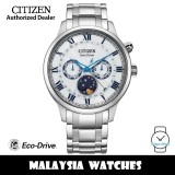 (100% Original) Citizen AP1050-81A Eco-Drive Moon Phase Made in Japan White Dial Sapphire Glass Stainless Steel Men's Watch (3 Years Warranty)
