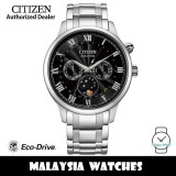 (100% Original) Citizen AP1050-81E Eco-Drive Moon Phase Made in Japan Black Dial Sapphire Glass Stainless Steel Men's Watch (3 Years Warranty)