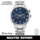 (100% Original) Citizen AP1050-81L Eco-Drive Moon Phase Made in Japan Blue Dial Sapphire Glass Stainless Steel Men's Watch (3 Years Warranty)