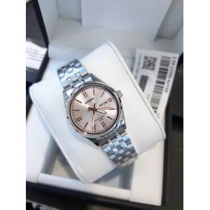 (100% Original) Casio LTP-1335D-4A Quartz Analog Pink Dial Silver-Tone Stainless Steel Ladies Watch LTP1335D LTP1335D-4A LTP-1335D-4AVDF