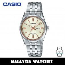 (100% Original) Casio LTP-1335D-9A Quartz Analog Beige Dial Silver-Tone Stainless Steel Ladies Watch LTP1335D LTP1335D-9A LTP-1335D-9AVDF