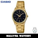 (100% Original) Casio LTP-V005G-1B Quartz Analog Black Dial Gold-Tone Stainless Steel Ladies Watch LTPV005G LTPV005G-1B LTP-V005G-1BVDF