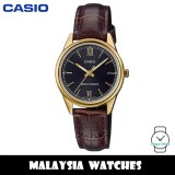 (100% Original) Casio LTP-V005GL-1B2 Quartz Analog Black Dial Gold-Tone Stainless Steel Case Brown Leather Strap Ladies Watch LTPV005GL LTPV005GL-1B2 LTP-V005GL-1B2VDF