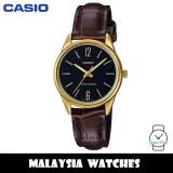 (100% Original) Casio LTP-V005GL-1B Quartz Analog Black Dial Gold-Tone Stainless Steel Case Brown Leather Strap Ladies Watch LTPV005GL LTPV005GL-1B LTP-V005GL-1BVDF