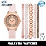 (OFFICIAL WARRANTY) Skechers SR9024 Women's Quartz Rose Gold-Tone Dial Pink Silicone Watch + Bracelets Gift Set (2 Years Warranty)