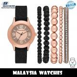 (OFFICIAL WARRANTY) Skechers SR9025 Women's Quartz Rose Gold-Tone Dial Black Silicone Watch + Bracelets Gift Set (2 Years Warranty)