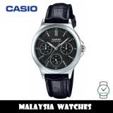 (100% Original) Casio LTP-V300L-1A Quartz Black Dial Stainless Steel Case Black Leather Strap Ladies Watch LTPV300L LTPV300L-1A LTP-V300L-1AVDF