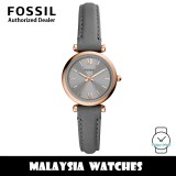 (OFFICIAL WARRANTY) Fossil ES5068 Carlie Mini Three-Hand Grey Leather Women's Watch (2 Years Fossil Warranty)
